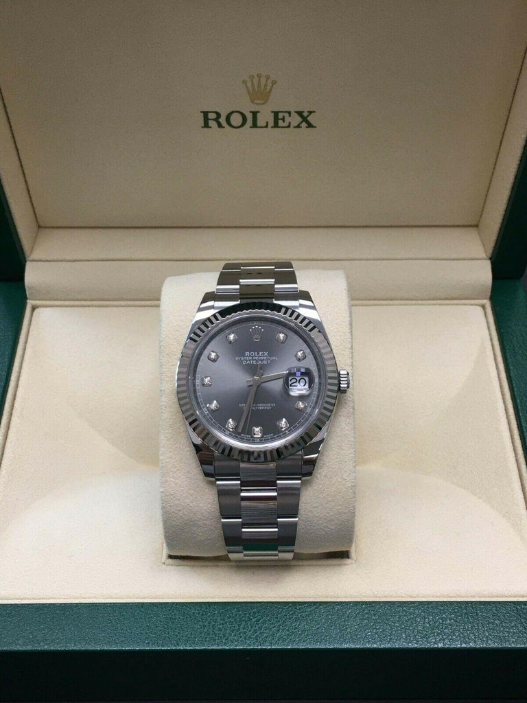 Rolex Datejust 41 126334 Rhodium Diamond Dial Stainless Steel 18K Box Paper 2018 For Sale 2