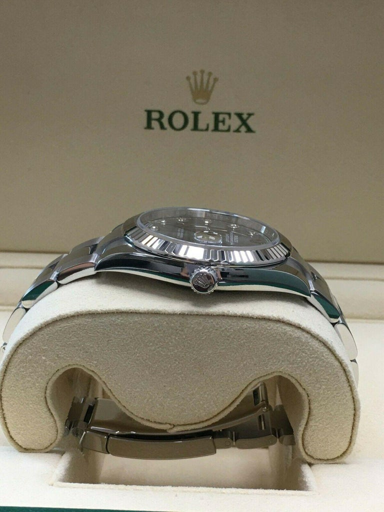Rolex Datejust 41 126334 Rhodium Diamond Dial Stainless Steel 18K Box Paper 2018 For Sale 4