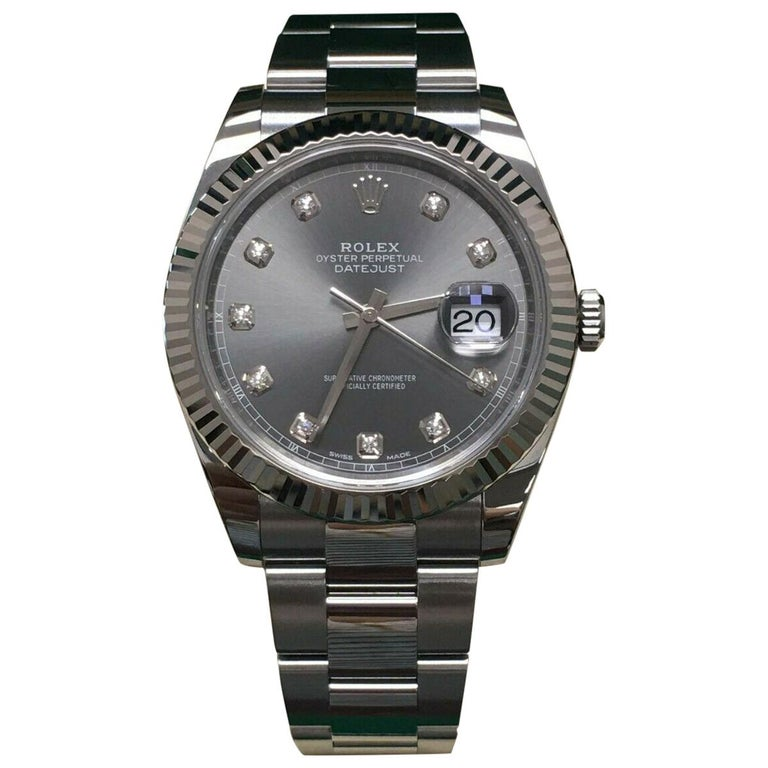 Rolex Datejust 41 126334 Rhodium Diamond Dial Stainless Steel 18K Box Paper 2018 For Sale