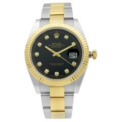 Rolex Datejust 41 18k Gold Steel Black Diamond Dial Automatic Men's Watch 126333