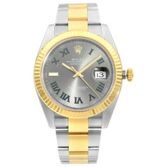 Rolex Datejust 41 18K Gold Steel Slate Wimbledon Dial Automatic Men Watch 126333