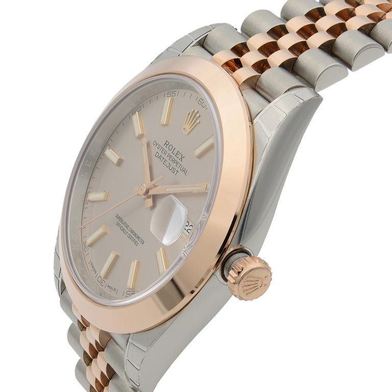Rolex Datejust 41 18K Rose Gold Steel Pink Dial Automatic Men's Watch 126301 In New Condition For Sale In New York, NY