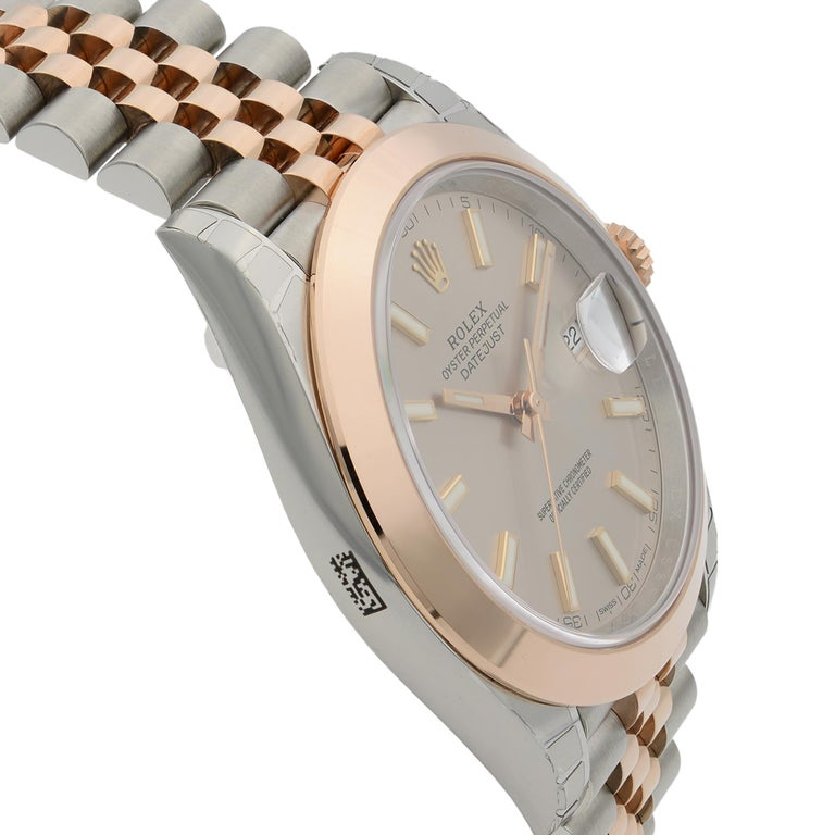 Rolex Datejust 41 18K Rose Gold Steel Pink Dial Automatic Men's Watch 126301 For Sale 1