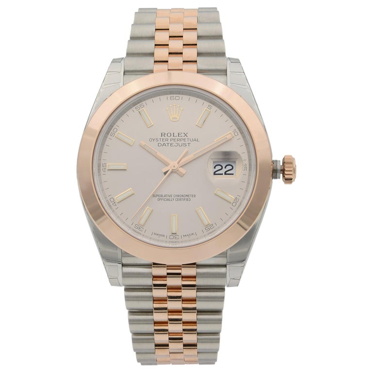 Rolex Datejust 41 18K Rose Gold Steel Pink Dial Automatic Men's Watch 126301 For Sale