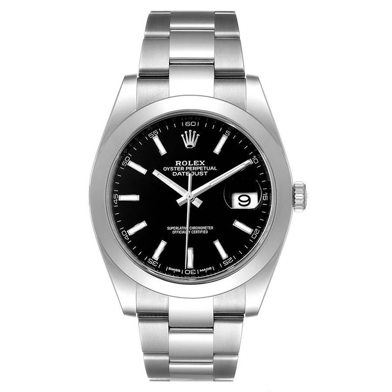 Rolex Datejust 41 Black Dial Steel Mens Watch 126300 Box Card. Officially certified chronometer automatic self-winding movement with quickset date. Stainless steel case 41 mm in diameter. Rolex logo on a crown. Stainless steel smooth domed bezel.