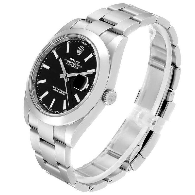 Rolex Datejust 41 Black Dial Steel Men's Watch 126300 Box Card 1