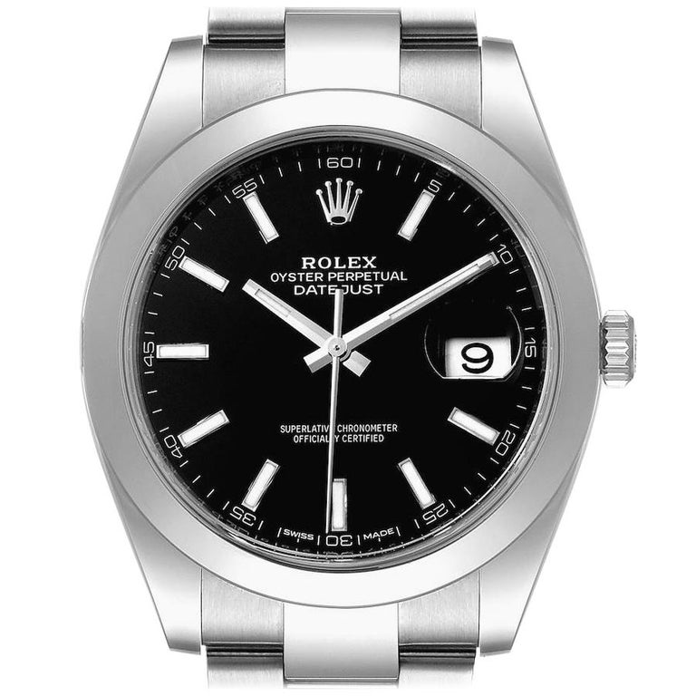 Rolex Datejust 41 Black Dial Steel Men's Watch 126300 Box Card