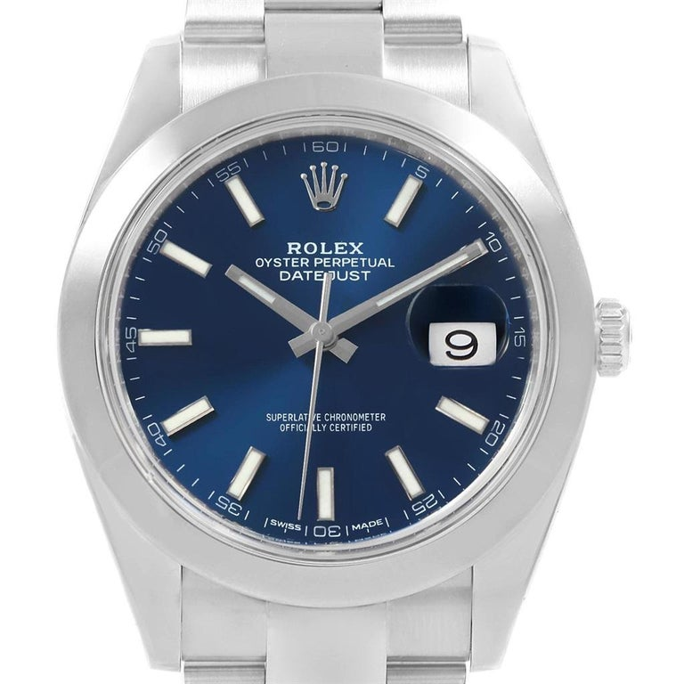 102077c1676 Rolex Datejust 41 Blue Baton Dial Stainless Steel Men's Watch 126300 For  Sale 3