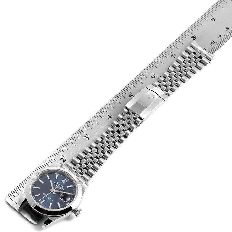 Rolex Datejust 41 Blue Dial Jubilee Bracelet Steel Men's Watch 126300 Box Card For Sale 7