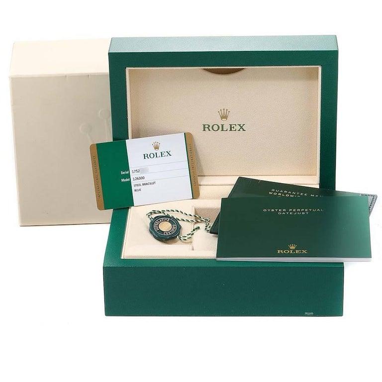 Rolex Datejust 41 Blue Dial Jubilee Bracelet Steel Men's Watch 126300 Box Card For Sale 9