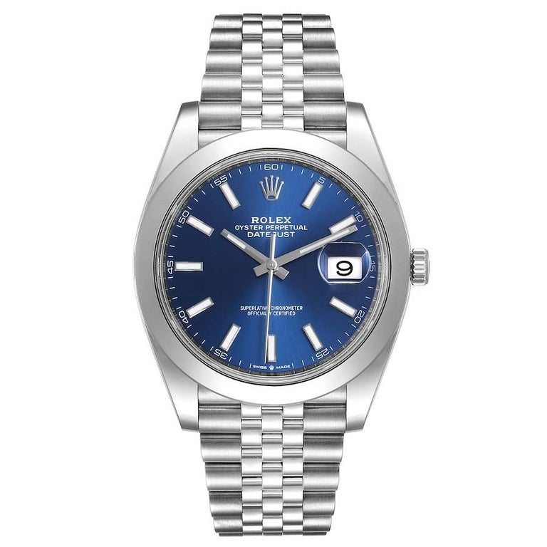 Rolex Datejust 41 Blue Dial Jubilee Bracelet Steel Mens Watch 126300 Box Card. Officially certified chronometer automatic self-winding movement. Stainless steel case 41 mm in diameter. Rolex logo on a crown. Stainless steel smooth domed bezel.