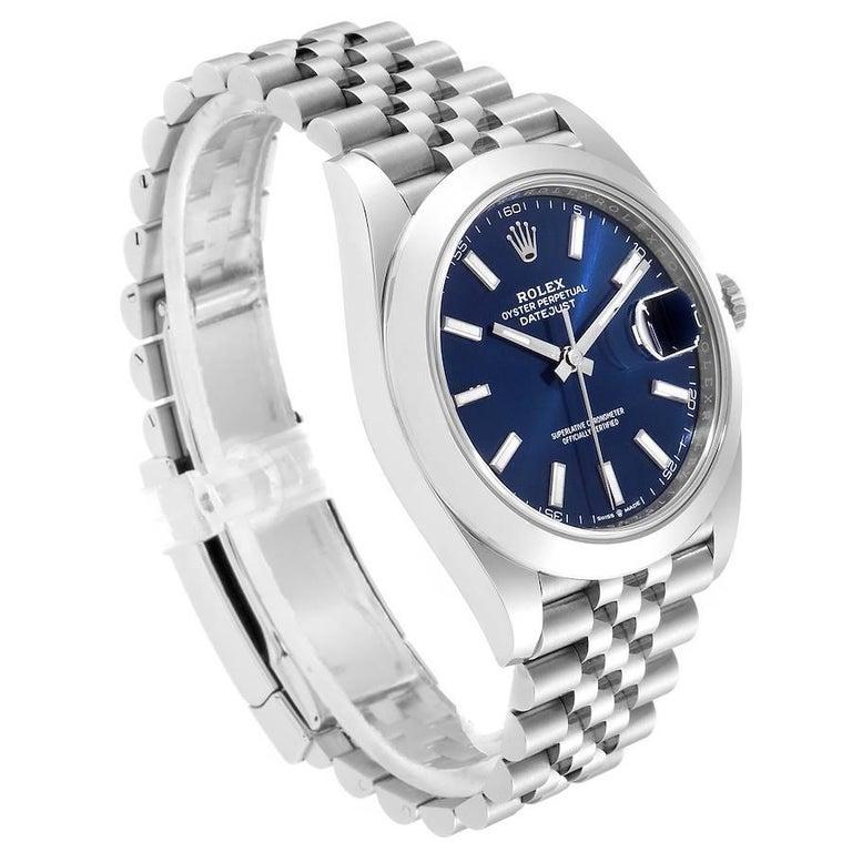 Rolex Datejust 41 Blue Dial Jubilee Bracelet Steel Men's Watch 126300 Box Card In Excellent Condition For Sale In Atlanta, GA