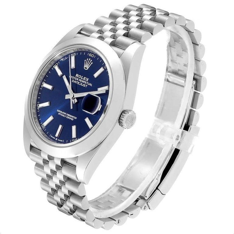 Rolex Datejust 41 Blue Dial Jubilee Bracelet Steel Men's Watch 126300 Box Card For Sale 1