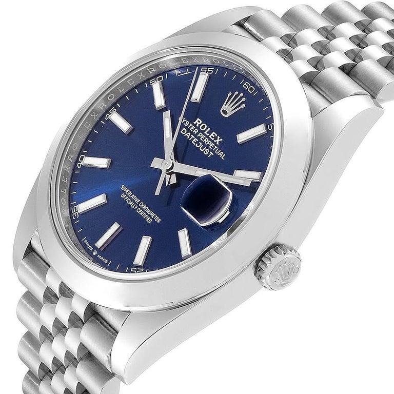 Rolex Datejust 41 Blue Dial Jubilee Bracelet Steel Men's Watch 126300 Box Card For Sale 2