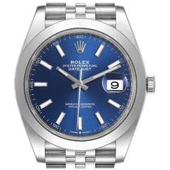 Rolex Datejust 41 Blue Dial Jubilee Bracelet Steel Men's Watch 126300 Box Card
