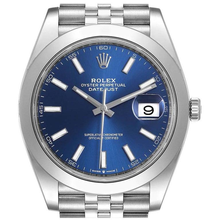 Rolex Datejust 41 Blue Dial Jubilee Bracelet Steel Men's Watch 126300 Box Card For Sale