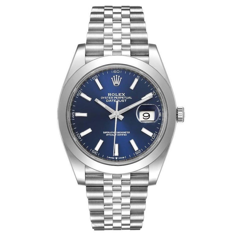 Rolex Datejust 41 Blue Dial Jubilee Bracelet Steel Mens Watch 126300 Unworn. Officially certified chronometer automatic self-winding movement. Stainless steel case 41 mm in diameter. Rolex logo on a crown. Stainless steel smooth domed bezel. Scratch