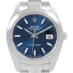 Rolex Datejust 41 Blue Dial Oyster Bracelet Steel Men's Watch 126300