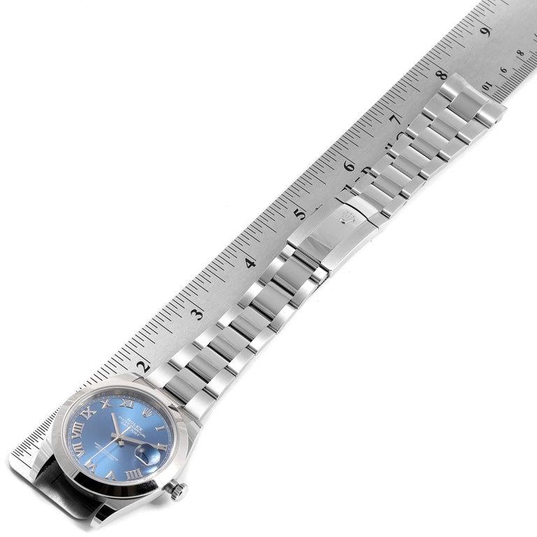 Rolex Datejust 41 Blue Dial Steel Men's Watch 126300 Box Card For Sale 7