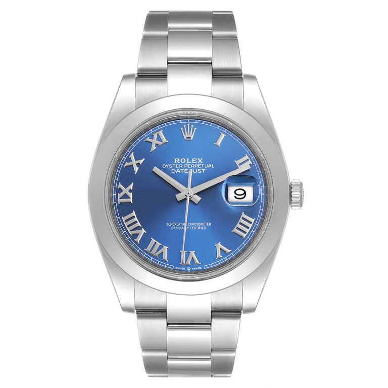 Rolex Datejust 41 Blue Dial Steel Mens Watch 126300 Box Card. Officially certified chronometer automatic self-winding movement. Stainless steel case 41 mm in diameter. Rolex logo on a crown. Stainless steel smooth domed bezel. Scratch resistant