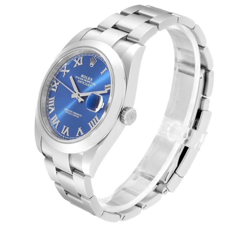 Rolex Datejust 41 Blue Dial Steel Men's Watch 126300 Box Card For Sale 1