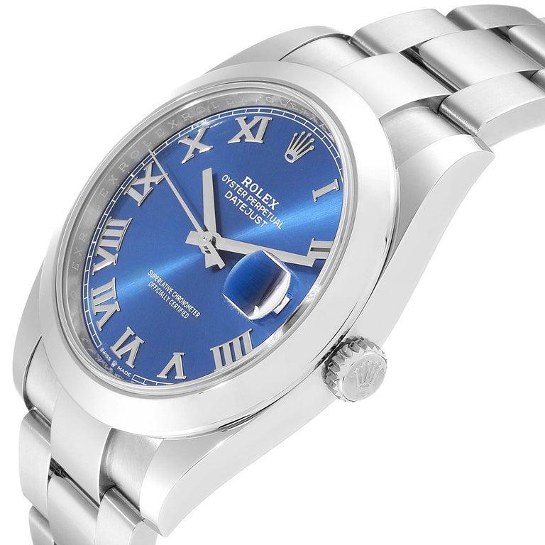 Rolex Datejust 41 Blue Dial Steel Men's Watch 126300 Box Card For Sale 2