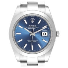 Rolex Datejust 41 Blue Dial Steel Men's Watch 126300 Box Card