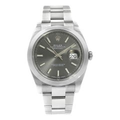 Rolex Datejust 41 Dark Rhodium Sticks Dial Oyster Steel Men's Watch M126300-0007