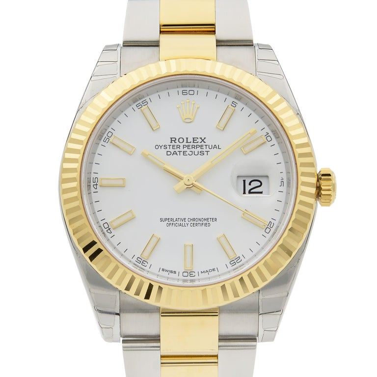 This brand new Rolex Datejust 41 126333 is a beautiful men's timepiece that is powered by mechanical (automatic) movement which is cased in a stainless steel case. It has a round shape face, date indicator dial and has hand sticks style markers. It