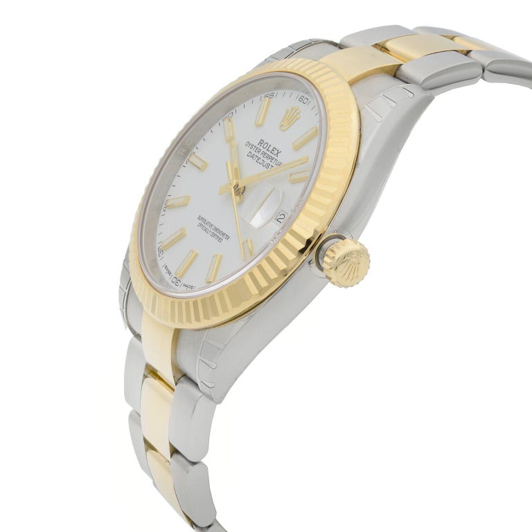 Rolex Datejust 41 Gold Steel White Stick Dial Automatic Men's Watch 126333 In New Condition For Sale In New York, NY