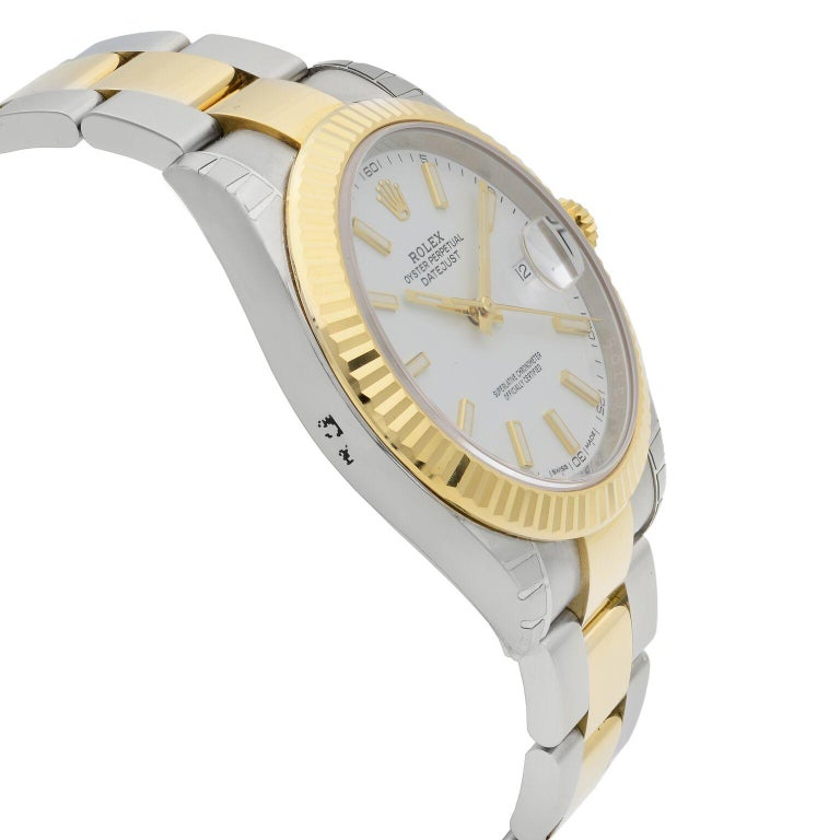 Rolex Datejust 41 Gold Steel White Stick Dial Automatic Men's Watch 126333 For Sale 1