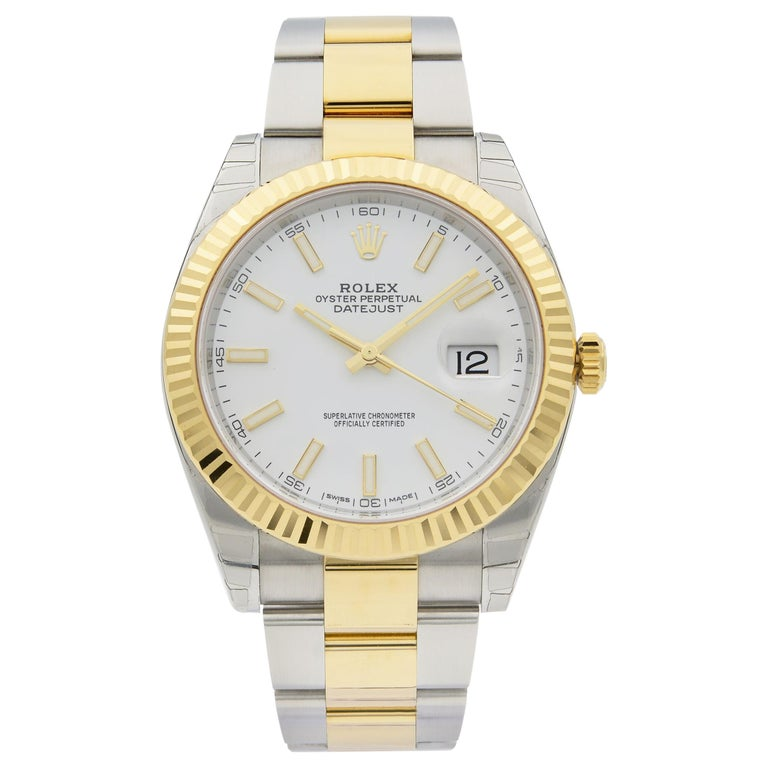 Rolex Datejust 41 Gold Steel White Stick Dial Automatic Men's Watch 126333 For Sale