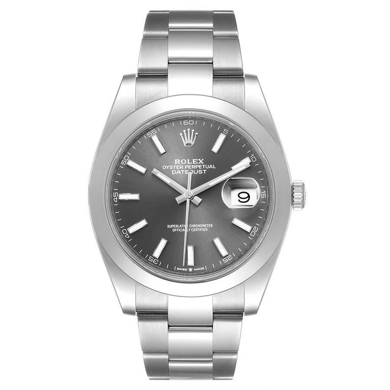 Rolex Datejust 41 Grey Dial Domed Bezel Steel Mens Watch 126300 Unworn. Officially certified chronometer automatic self-winding movement. Stainless steel case 41 mm in diameter. Rolex logo on a crown. Stainless steel smooth domed bezel. Scratch