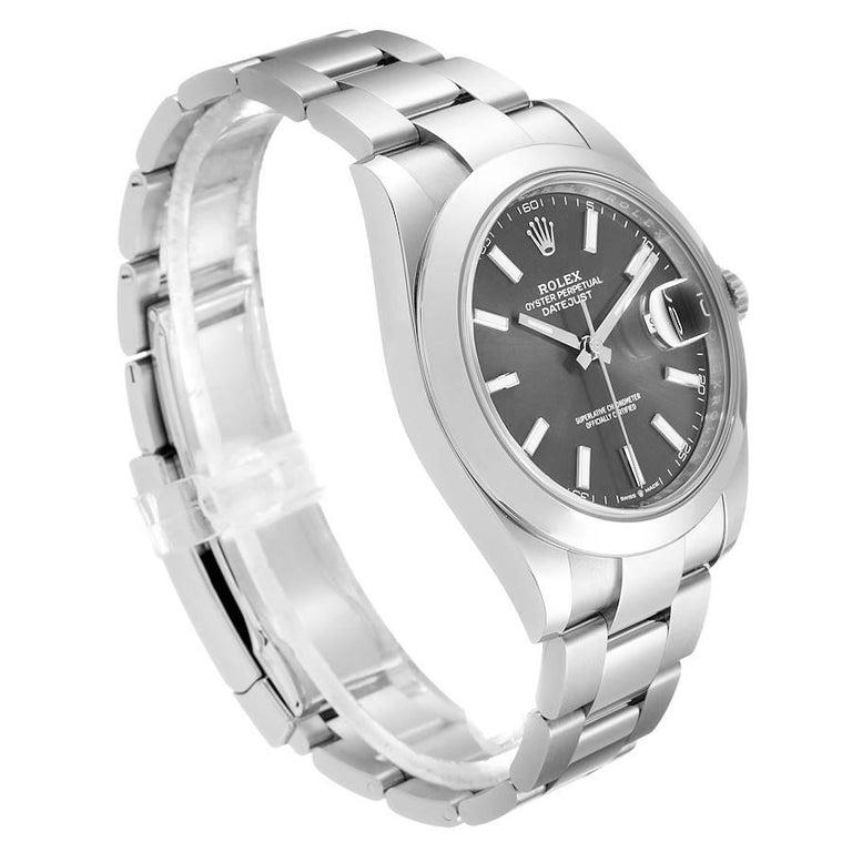 Rolex Datejust 41 Grey Dial Domed Bezel Steel Men's Watch 126300 Unworn In Excellent Condition For Sale In Atlanta, GA