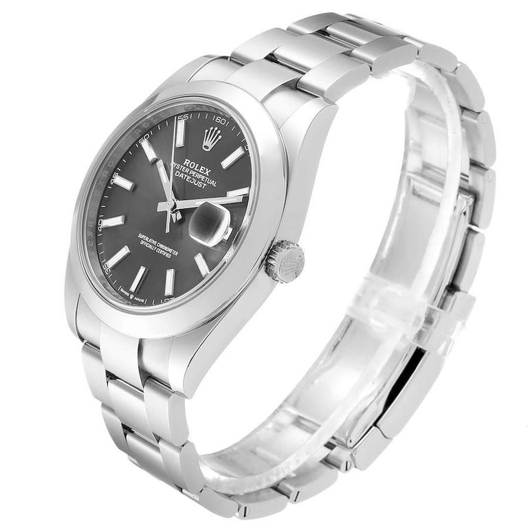 Rolex Datejust 41 Grey Dial Domed Bezel Steel Men's Watch 126300 Unworn For Sale 1