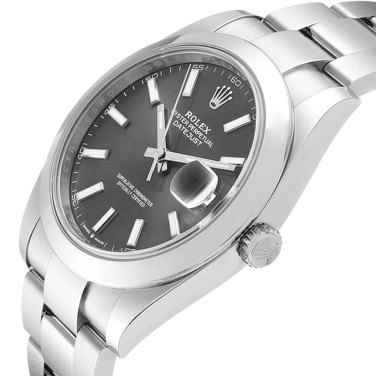 Rolex Datejust 41 Grey Dial Domed Bezel Steel Men's Watch 126300 Unworn For Sale 2