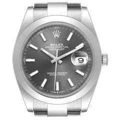 Rolex Datejust 41 Grey Dial Domed Bezel Steel Men's Watch 126300 Unworn