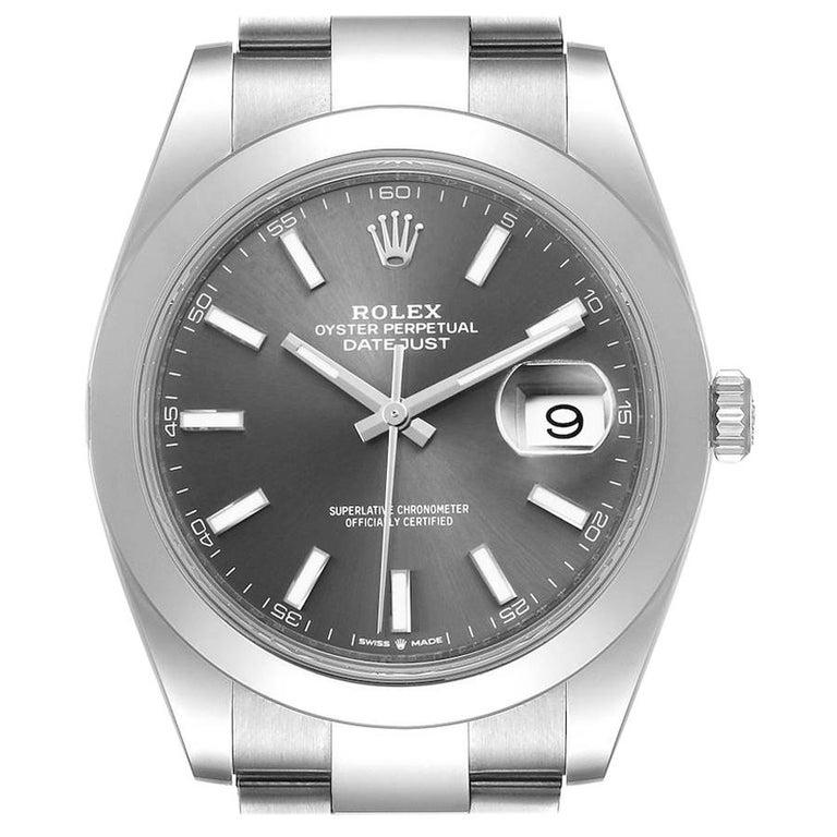 Rolex Datejust 41 Grey Dial Domed Bezel Steel Men's Watch 126300 Unworn For Sale