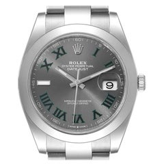 Rolex Datejust 41 Grey Dial Green Numerals Steel Men's Watch 126300 Unworn
