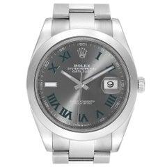 Rolex Datejust 41 Grey Dial Green Roman Numerals Steel Men's Watch 126300
