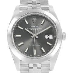Rolex Datejust 41 Grey Dial Jubilee Bracelet Steel Men's Watch 126300