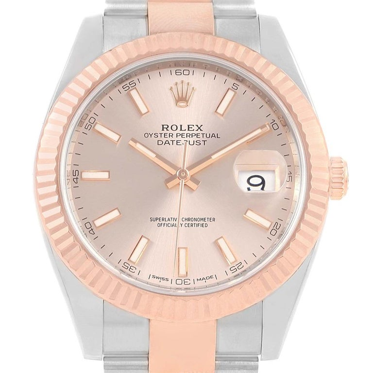 e8c6ccbfbb1 Rolex Datejust 41 Pink Dial Steel EveRose Gold Men's Watch 126331 For Sale