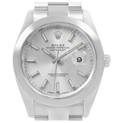 Rolex Datejust 41 Silver Baton Dial Stainless Steel Men's Watch 126300