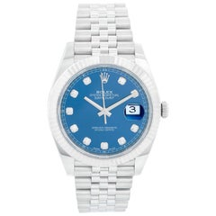 Rolex Datejust 41 Stainless Steel Men's Blue Diamond Watch 126334
