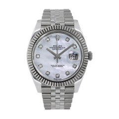 Rolex Datejust 41 Stainless-Steel White MOP Diamond Dial Watch 126334