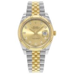 Rolex Datejust 41 Steel 18 Karat Gold Champagne Diamond Dial Men's Watch 126333