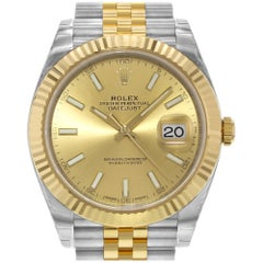 Rolex Datejust 41 Steel 18 Karat Gold Champagne Index Dial Men's Watch 126333