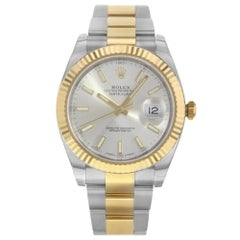 Rolex Datejust 41 Steel 18 Karat Yellow Gold Silver Dial Men's Watch 126333
