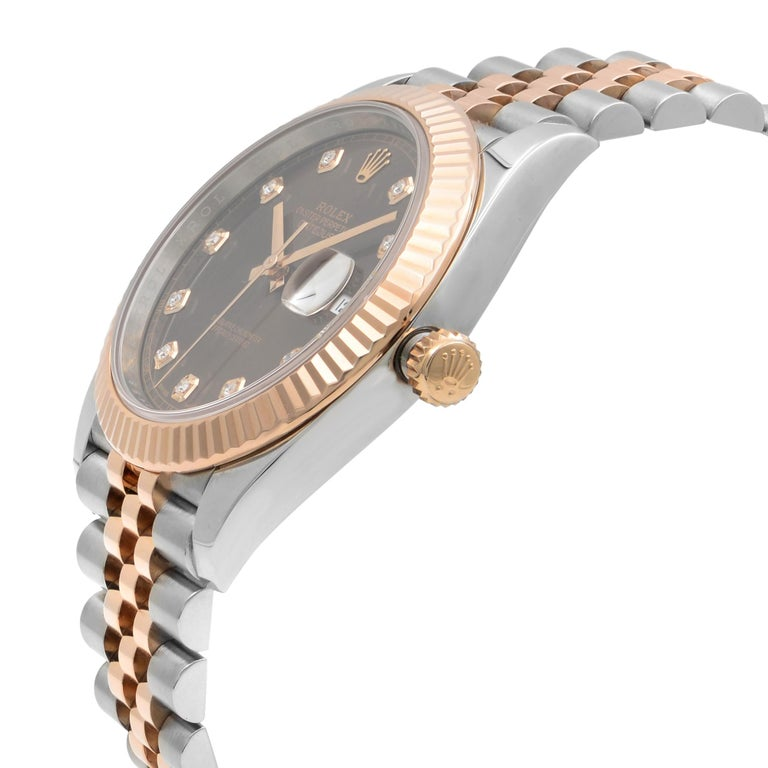 Rolex Datejust 41 Steel 18K Rose Gold Chocolate Diamond Dial Men's Watch 126331 In Excellent Condition For Sale In New York, NY