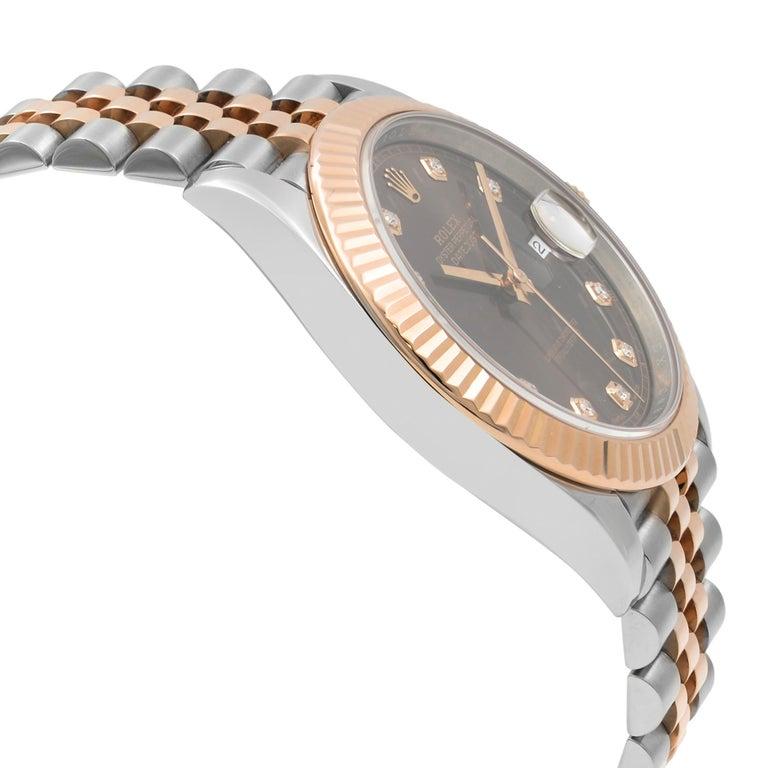 Men's Rolex Datejust 41 Steel 18K Rose Gold Chocolate Diamond Dial Men's Watch 126331 For Sale
